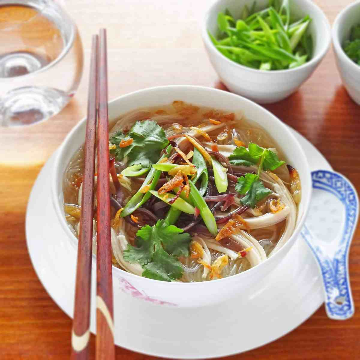 Vietnamese Chicken Soup with Glass Noodles - Mien Ga