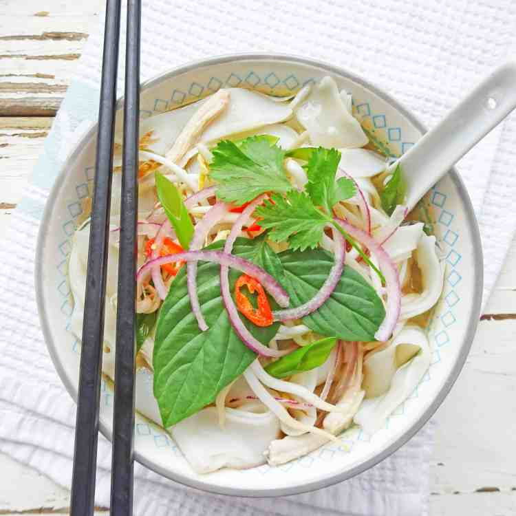 Vietnamese Chicken Soup with Rice Noodles - Pho Ga