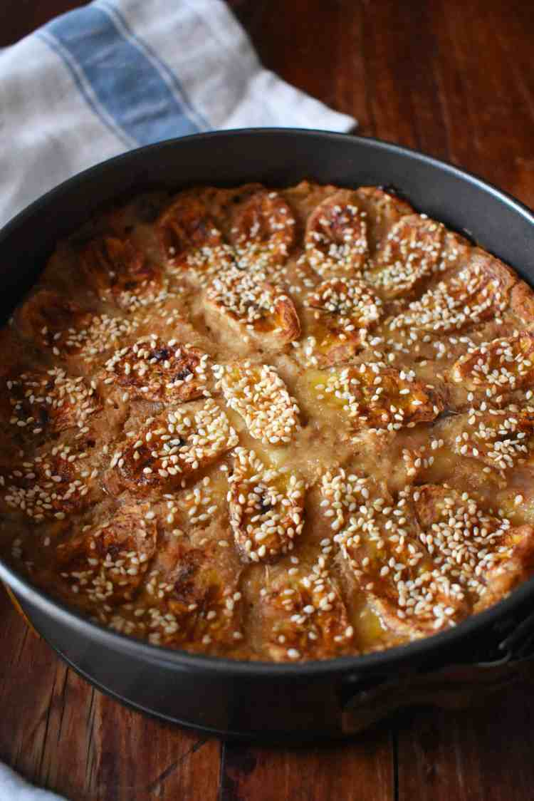 Vietnamese Banana Bread Pudding Cake Tin Close Up