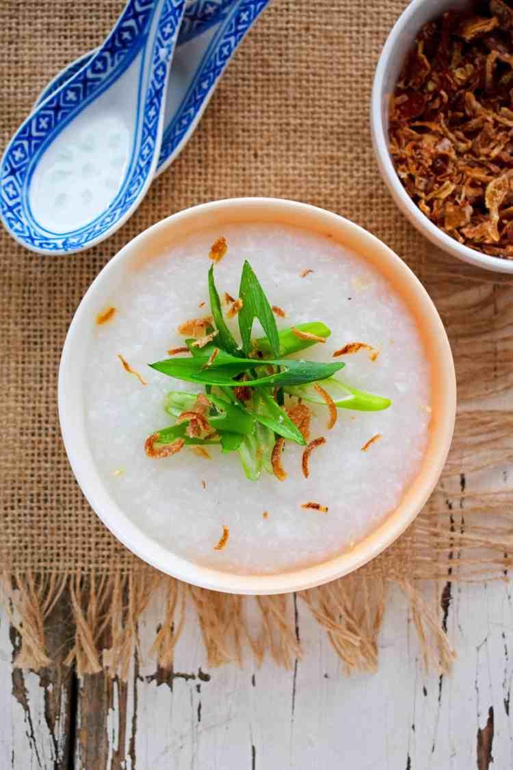 Top down view of a bowl of rice porridge