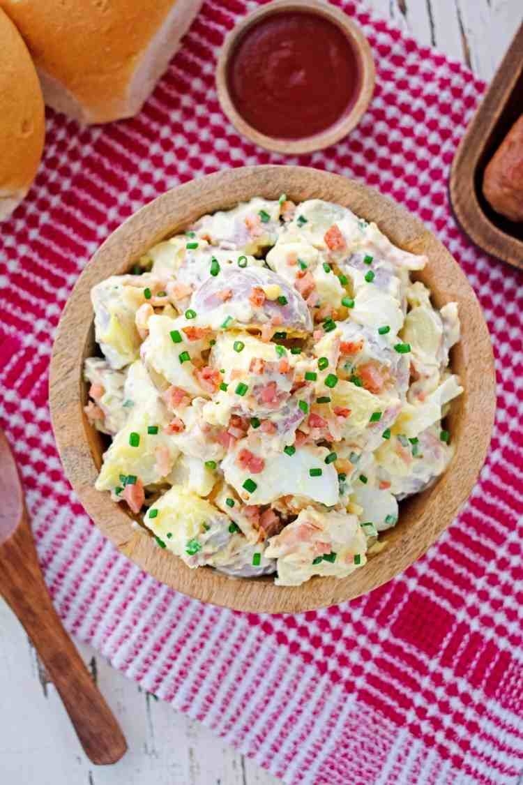 Top down view of a bowl of potato salad