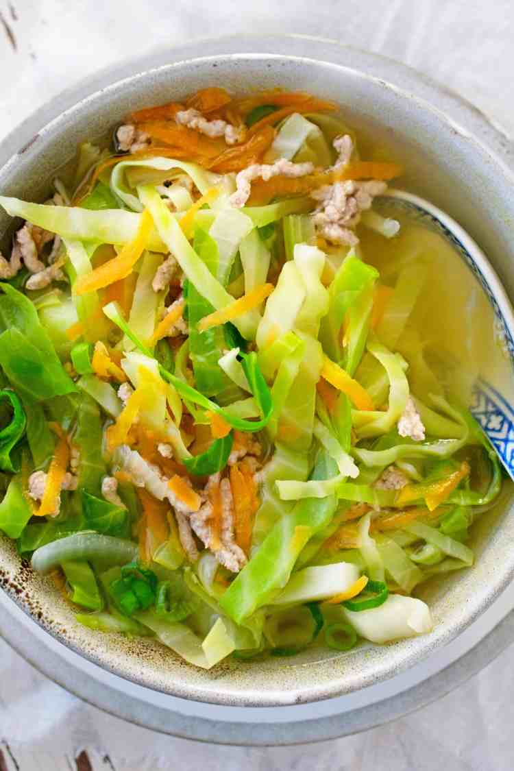 A bowl of Vietnamese pork and cabbage soup