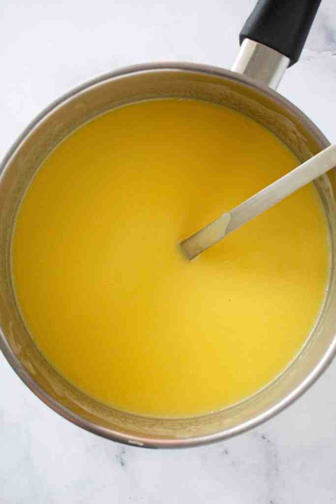 Mango Pudding Mixture Ready for the Moulds