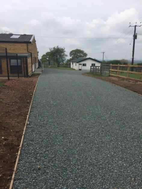 Driveway and new kennel & spa buildings
