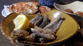 Pa amb tomaquet, fried fish, Bormuth, Barcelona.