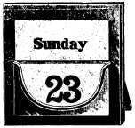 calendar showing Sunday 23