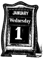 calendar showing January Wednesday 1
