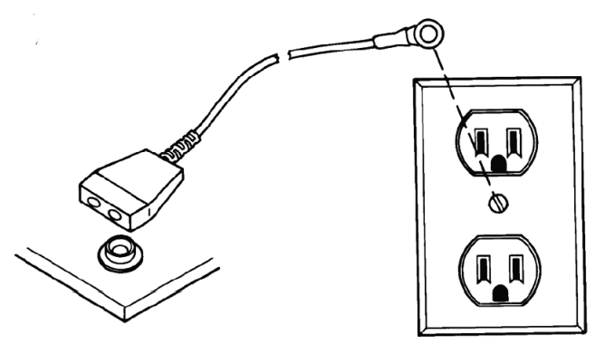 Grounding cable snap with connection to a ground.