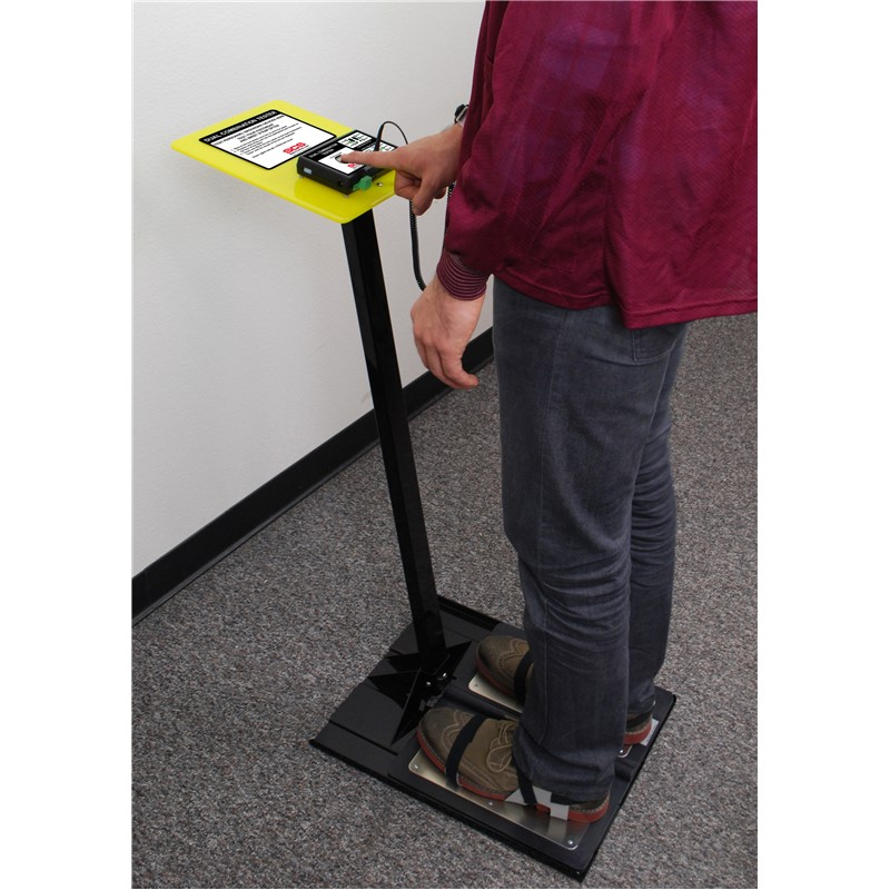 The SCS Dual Combination Tester is used to test wrist straps and footwear