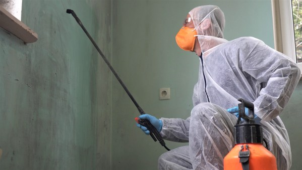 Black mold inspection and removal. A specialist in protective clothing sprays the walls of a house infected with mold. Mold and Mildew Stain Remover Spray