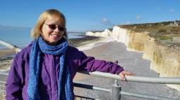 Sheila on clifftop at Birling Gap 16 Feb 2016