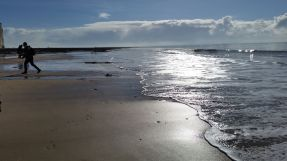 silver sea at Birling Gap 16 Feb 2016