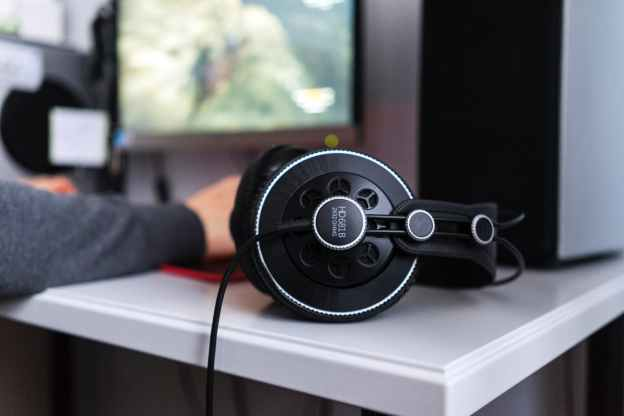 black corded headset on white table