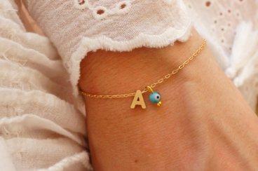 Turquoise Evil Eye Initial Bracelet