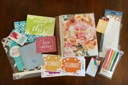 This is everything I got from Erin Condren. The only add-ons I got were the snap-on to-do list dashboard and wet erase markers to the left. The other extras pictured came with the planner.
