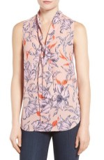 Halogen Tie Neck Sleeveless Blouse