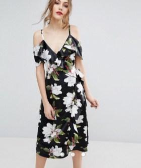 ASOS Warehouse Floral Cold Shoulder Wrap Midi Dress