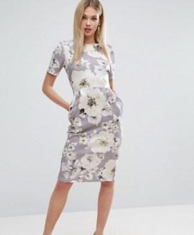 ASOS Occasion Floral Print Pencil Dress