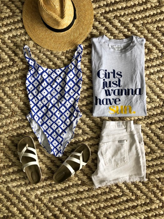 Summer Style Must-Haves - One-piece printed scoopneck bathing suit and graphic tee - SCsScoop.com