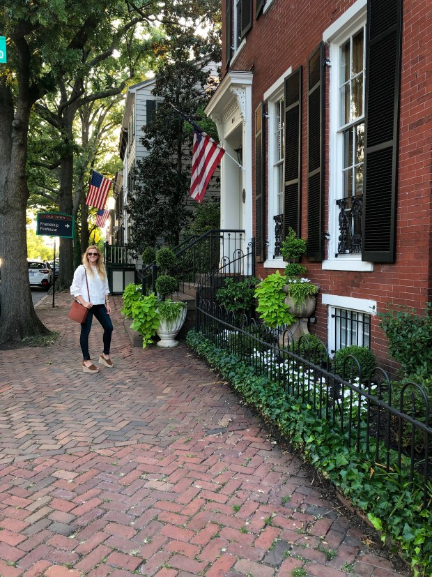 Summer Style - Eyelet Top with Sandals - J.Crew - Exploring Old Town Alexandria, VA - SCsScoop.com