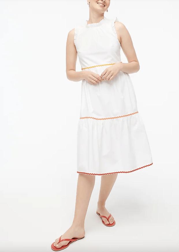 tiered white midi dress under $100 - j.crew factory - SCsScoop.com
