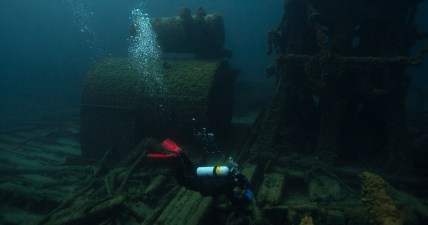 The 240-foot-long Montana, a steam barge, wrecked in 1914 as the result of a fire. Today, many of Montana's interesting hull features like the engine, boiler, propeller and shaft are still visible to divers. (Photo credit: David J. Ruck/NOAA)