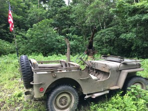 The jeep sits deep in the jungle near Munda, just in front of a Japanese anti-aircraft gun. (Photo credit: Rebecca Strauss)