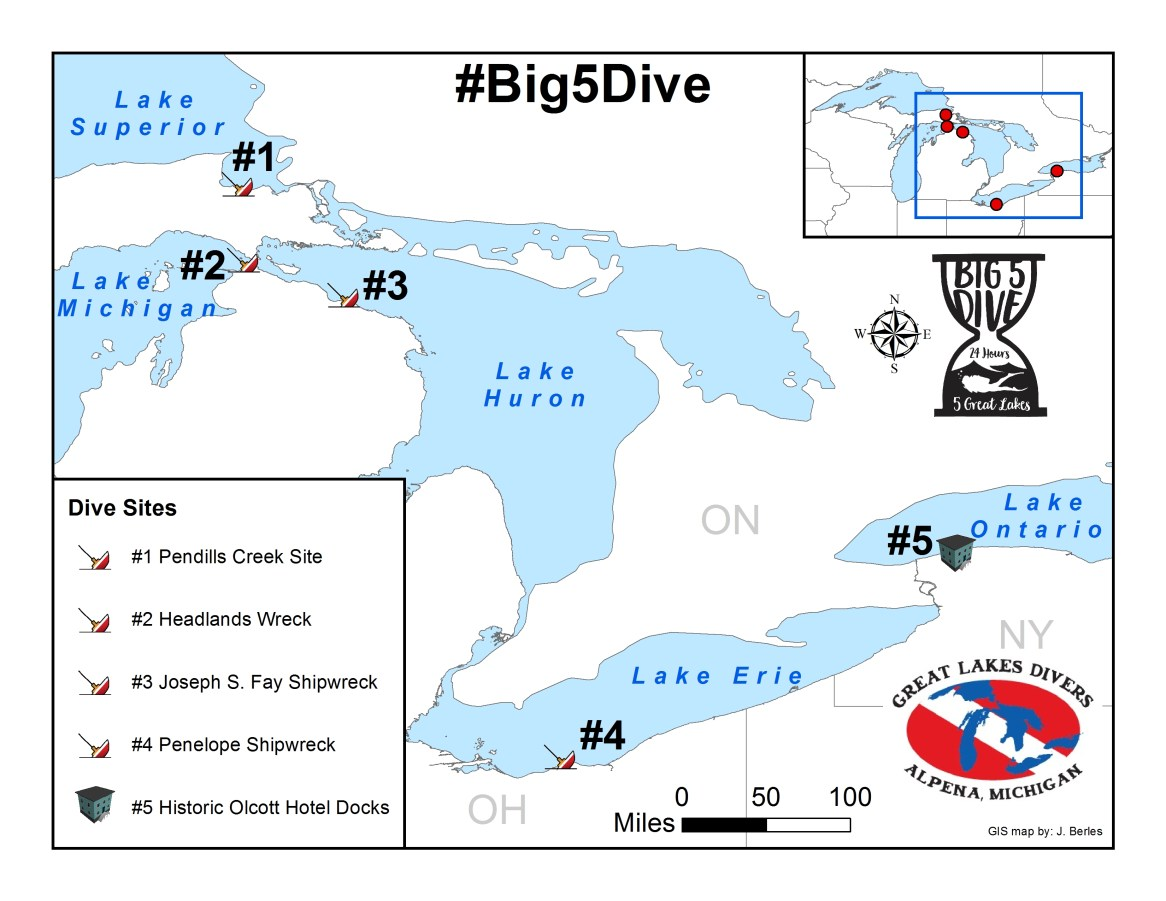 Map of the five historic dive sites the team successfully tackled on PADI Women's Dive Day, July 15, 2016. The team completed the circuit in 22 hours and 27 minutes. (Photo credit: Jim Berles)