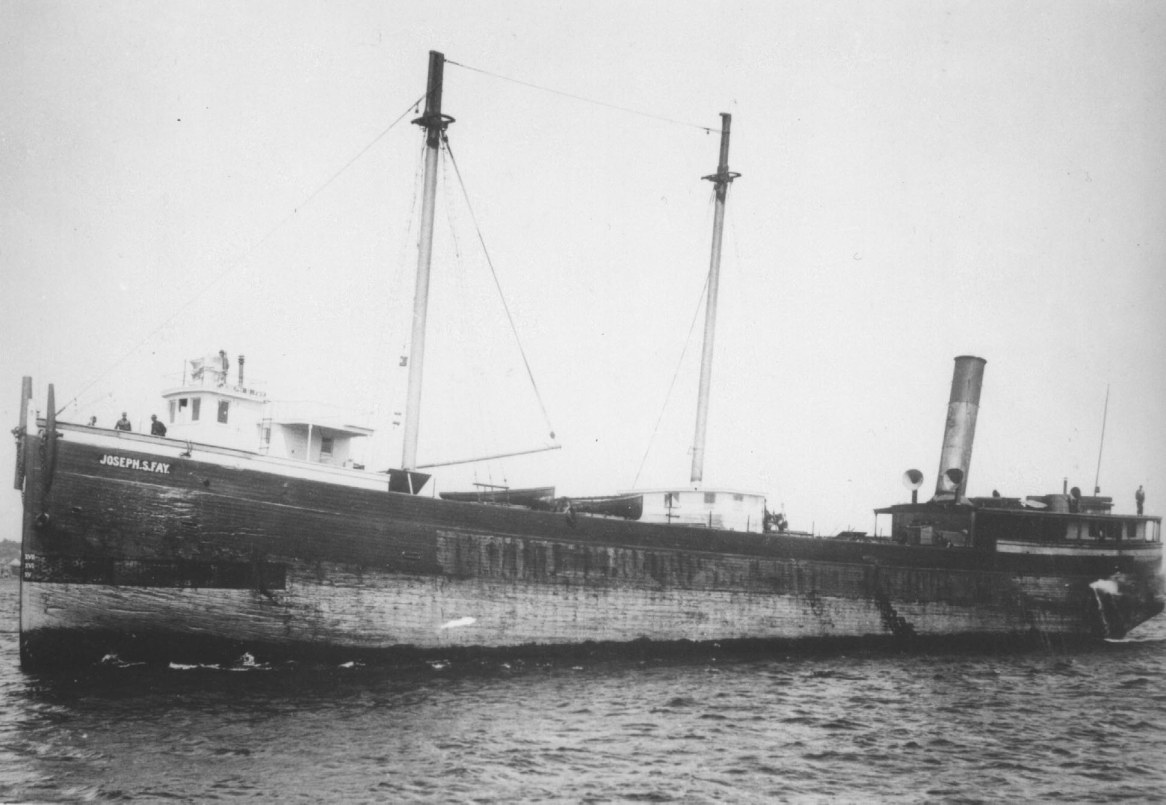 Historic image of Joseph S. Fay, lost on October 1905 in a strong gale. The huge wooden freighter rests in about 17 feet of water off northeast Michigan's 40 Mile Point. (Photo credit: Thunder Bay Sanctuary Research Collection)