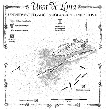 The Urca de Lima site plan (Courtesy of Florida Division of Historical Resources)