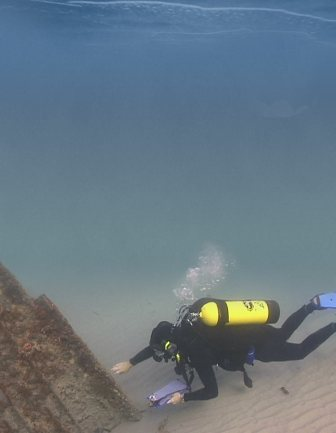 A diver examines Lofthus (Photo courtesty Florida Division of Historical Resources).