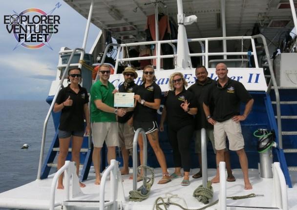 Caribbean Explorer II staff celebrates Green Fins membership