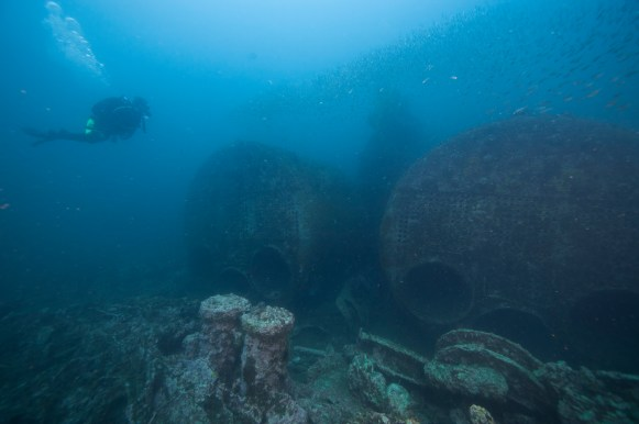 Caribsea's two Scotch boilers, located midship rise above the seafloor with schools of fish swarming the wreck. (Photo credit: NOAA)