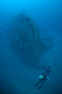 Diver captures images of E.M. Clark's fantail section. Images were used to create a photomosaic of the shipwreck site. Photo: Hoyt, NOAA