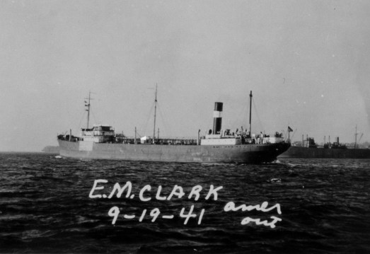 E.M. Clark, a merchant tanker, location unknown, dated September 19, 1941. Courtesy of the National Archives.