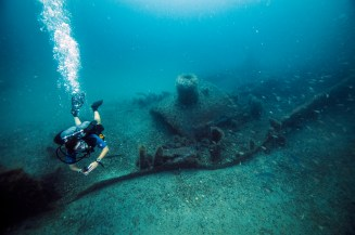 A diver checks out the bow of the HMT Bedfordshire. Photo: NOAA