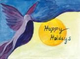 Holiday card bird pulls back the curtain