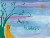 Holiday card buddha meditates under tree