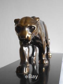 Ancienne Sculpture Statue Art Deco Patine Bronze Panthere