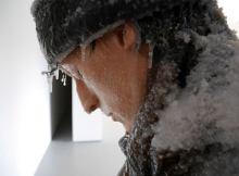 Laurent Pernot,Self Portrait Face to a Winter Canvas