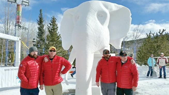 "Team Loveland, 2016 Bronze Winner & Kids' Choice Award ""Bolting from Extinction,"" Breckenridge International Snow Sculpture Championships"
