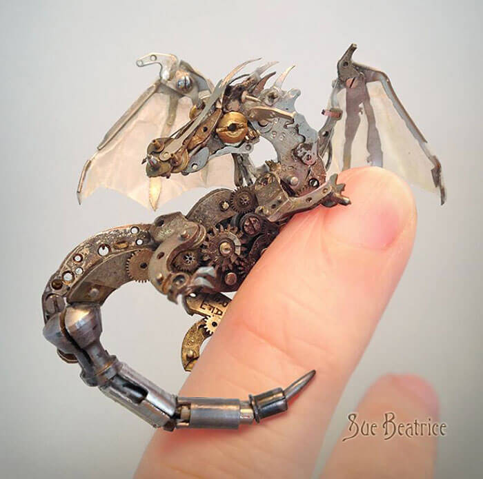 Tiny Steampunk dragon sculpture by Susan Beatrice