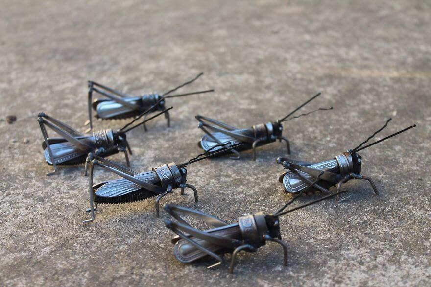 JK Brown scrap metal grasshoppers