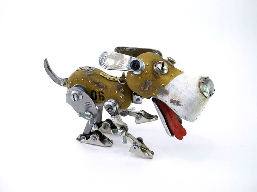 Igor Verniy Steampunk Sculpture Running Dog