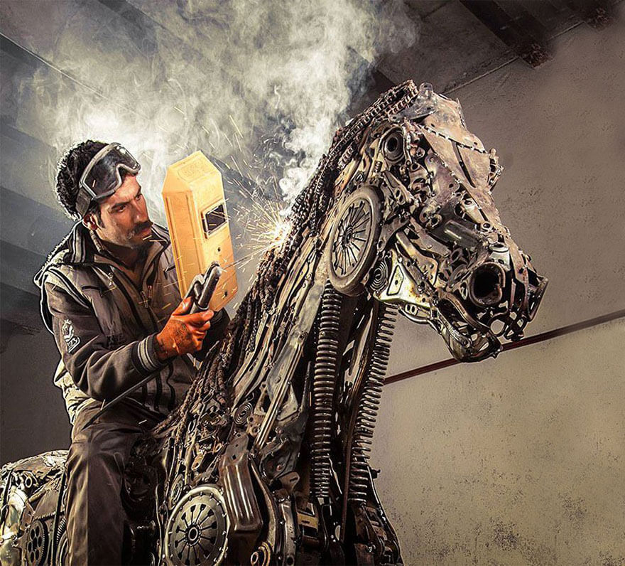 Steampunk Sculpture in process of creation by Hasan Novrozi