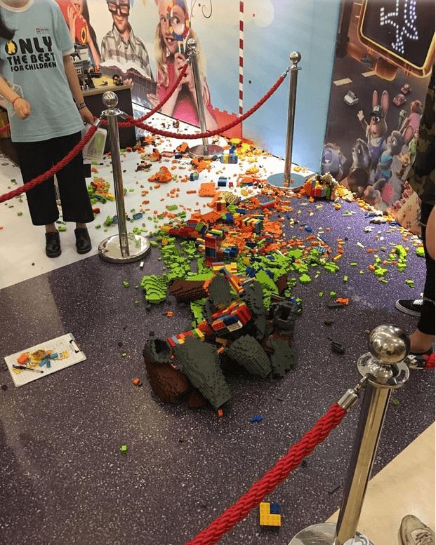 Lego Fox Sculpture Destroyed by Child