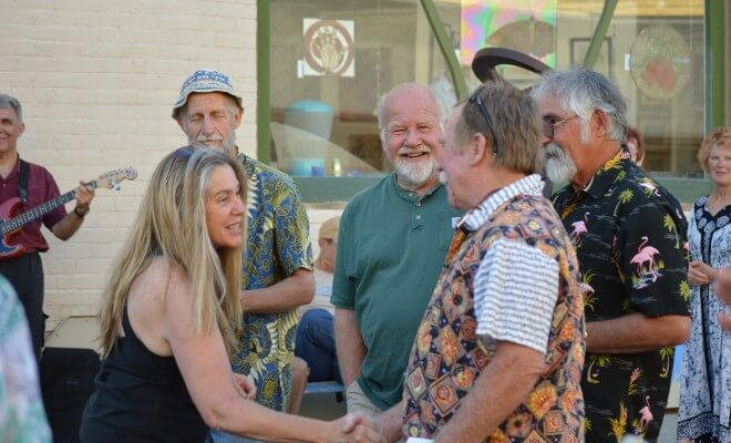 Town of Palisade Trustee Thea Chase thanks the four artists in the inaugural group of sculptors exhibiting on behalf of Palisade's Art Vision.
