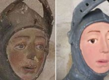 St George painted sculpture before and after restoration