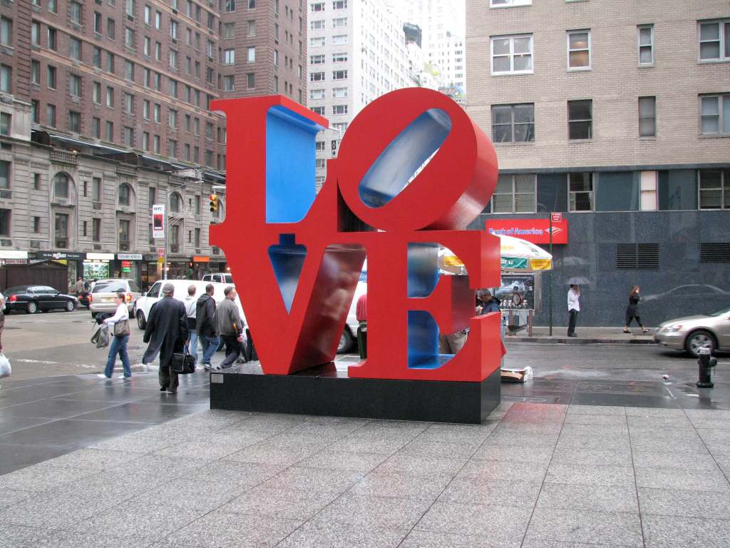 painted sculpture LOVE in NYC by Robert Indiana