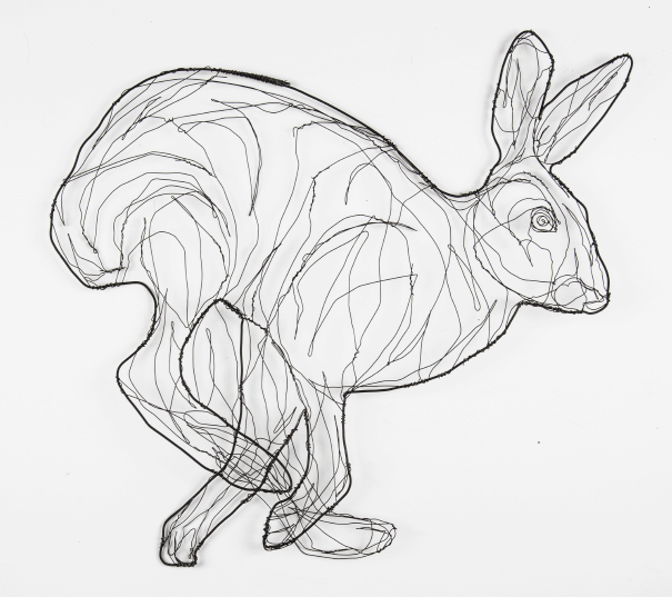 wire sculpture of hare by RosemaryCraft